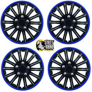 "peugeot 206 14"" stylish black blue rim wheel cover hub caps x4"