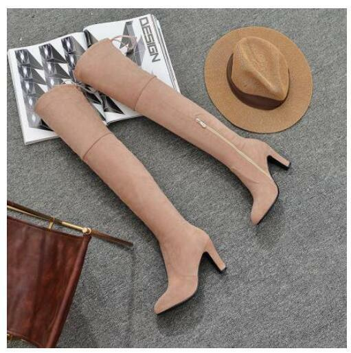 Ladies Faux Suede Winter Thigh High Boots High Heels Over The Knee shoes
