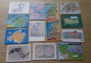 Lot-of-13-Mixed-Mostly-Overseas-Map-Postcards