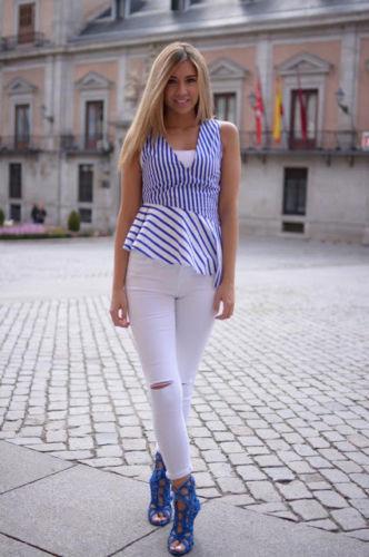 Zara Blau Weiß Streifen Schößchen Top Größe