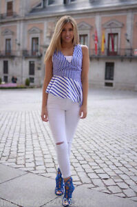 Zara-Blu-Bianco-Righe-Maglia-peplo-TAGLIA-M-L