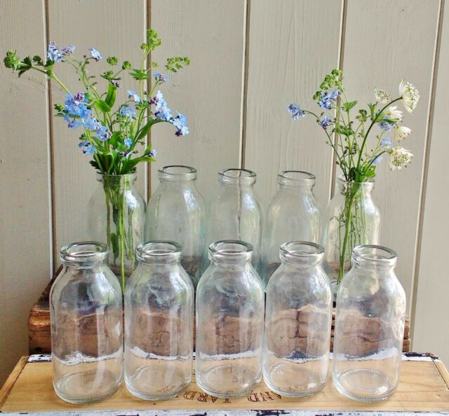 Bulk 10 Shabby Chic Vintage Small Milk Bottle Vases Weddings Party