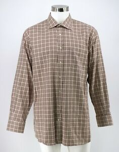 Peter-Millar-Dress-Shirt-Size-Large-Pink-Brown-Plaid-Cotton-Button-Front-Mens
