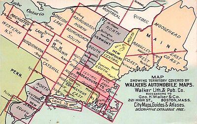 Postcard Walker Automobile Maps Maine Vermont New York New Jersey~116936 |  eBay