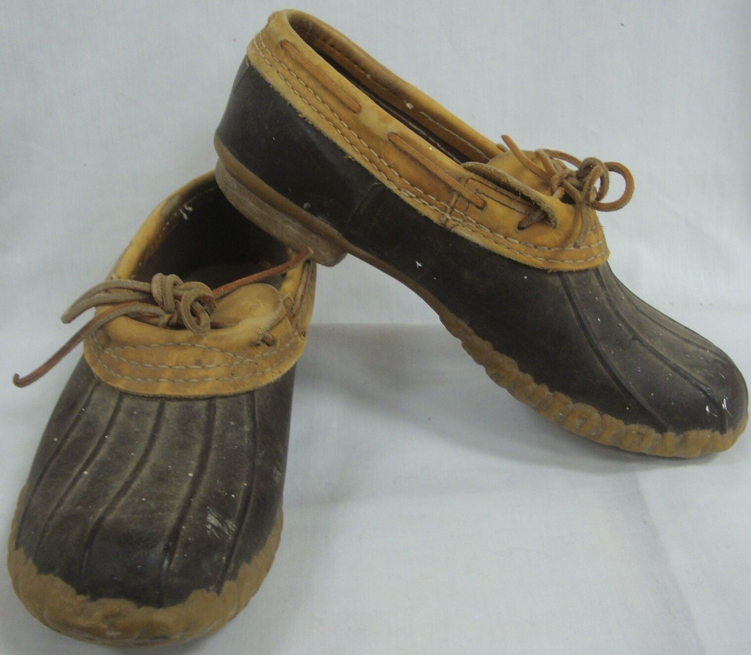 LL BEAN MENS VINTAGE LOW BOOTS MOC GUMSHOE BROWN LEATHER ANKLE DUCK HUNTING SZ 9