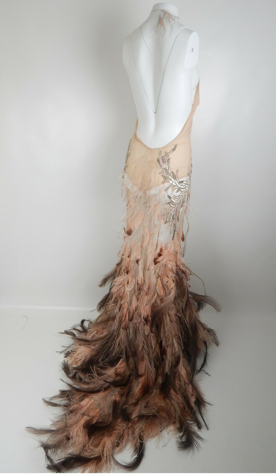 Roberto Cavalli FW2003 Blush Crystal Feather Gown - image 9