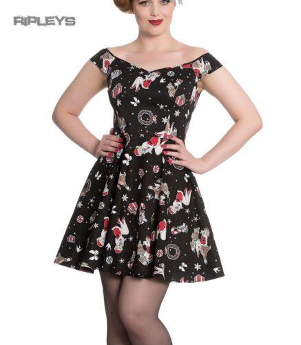 Hell Bunny Rockabilly Festive Noel Christmas Mini Dress BLITZEN Black All Sizes