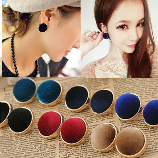 Fashion Round Velvet Gold Plated Charms Ear Stud Earrings Women's Jewelry Gift