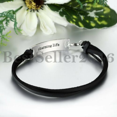 """/""""She Believed She Could So She Did/""""Inspirational Leather Bracelet For Women Girl"""