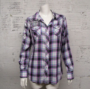 Ariat-Womens-Size-M-Embellished-Western-Snap-Front-Long-Sleeve-Plaid-Shirt