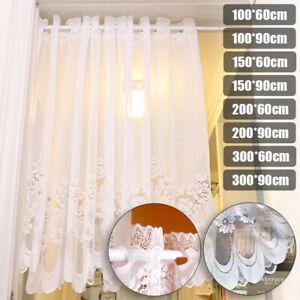 Lace-Sheer-Window-Cafe-Curtain-Rod-Pocket-Floral-Room-Kitchen-Valance-Decoration