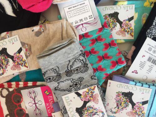 15 pairs luxury women/'s ladies design coloured socks cotton UK size 4-6 MNKGMD