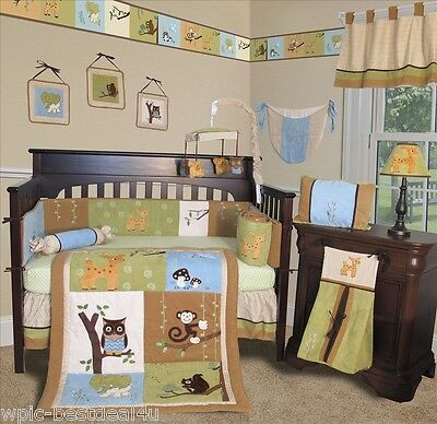 Rose Damask 15 pcs Nursery Crib Bedding Set Baby Boutique