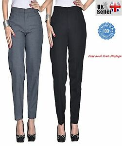 Image Is Loading Las Women Elasticated Trouser Clic School Office Pants