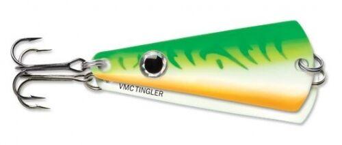 """VMC Tingler Spoon 2/"""" 3//16 oz TGS316-GGFU Glow Green Fire UV Ice Fishing Lure"""