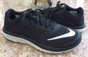 NIKE FS Lite Run 3 Men's Black White Running Training Shoes Sz 8 #807144-001 EUC