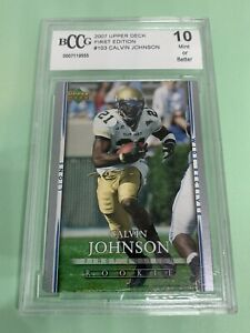 2007 UD First Edition #103 Calvin Johnson BCCG 10 Mint Rookie RC HOF Lions 💎