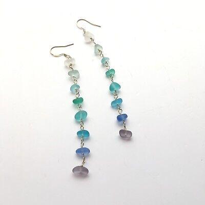 Sea glass earrings beach glass earrings sea glass and chain earrings siver earring with sea glass