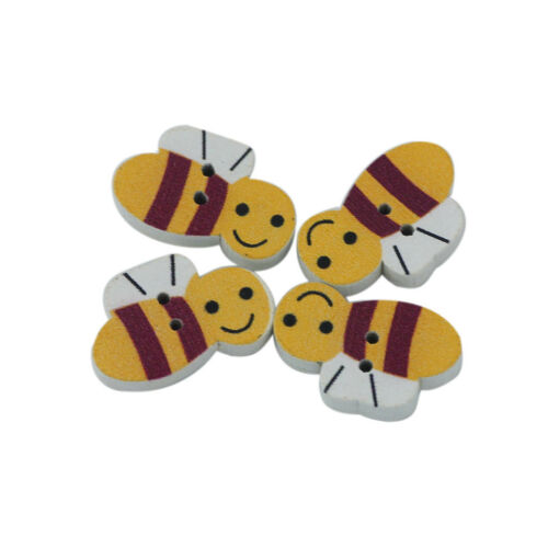 50PCS CUTE WOOD BEE SHAPE WOODEN BUTTONS SCRAPBOOKING SEWING CRAFT DIY