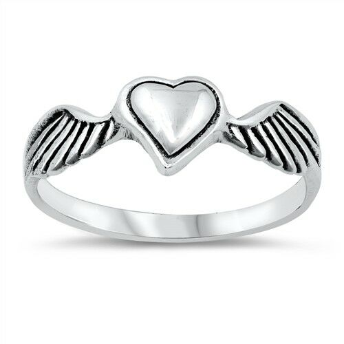 Heart with Wings Ring Genuine Sterling Silver 925 Oxidized Face Height 7 mm