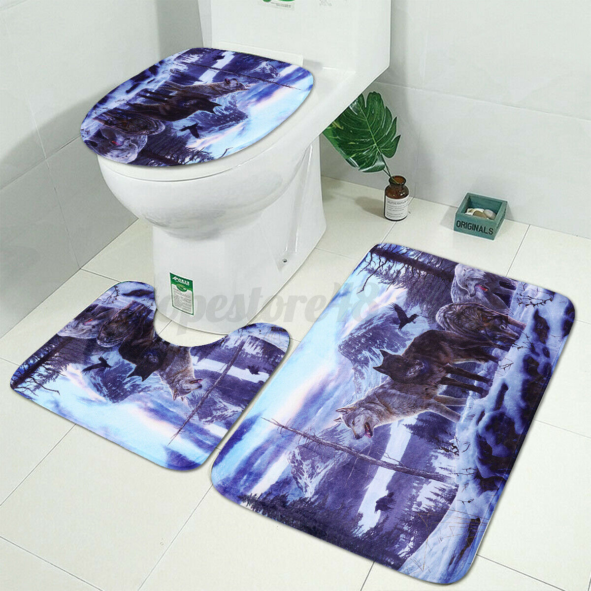 Snow Wolf Bathroom Polyester Shower Curtain Non Slip Toilet Cover Rugs Mat  ↻ q
