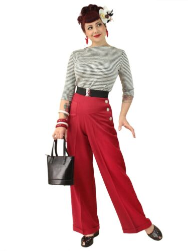 1940s Swing Pants & Sailor Trousers- Wide Leg, High Waist    1940s Vivien Of Holloway Katharine Trousers Ruby Swing Pin-up Wide 40s retro £79.00 AT vintagedancer.com