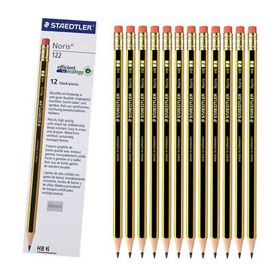12 x HB Rubber tipped school pencils drawing with FREE Metal Pencil Sharpener