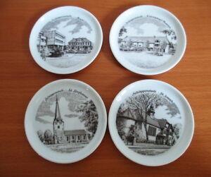Furstenberg-West-Germany-4-Porcelain-Coasters-Schoppenstedt-City-Scenes-Vintage