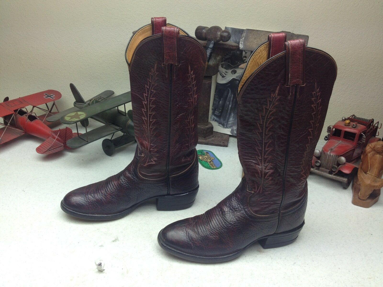 BLACK LABEL VINTAGE BURGUNDY TONY LAMA LEATHER RODEO RANCH DANCE WORK BOOTS 6 B