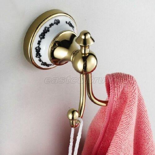 Gold Color Brass Bathroom Double Robe Hook Coat Hat Towel Hook Hanger eba250