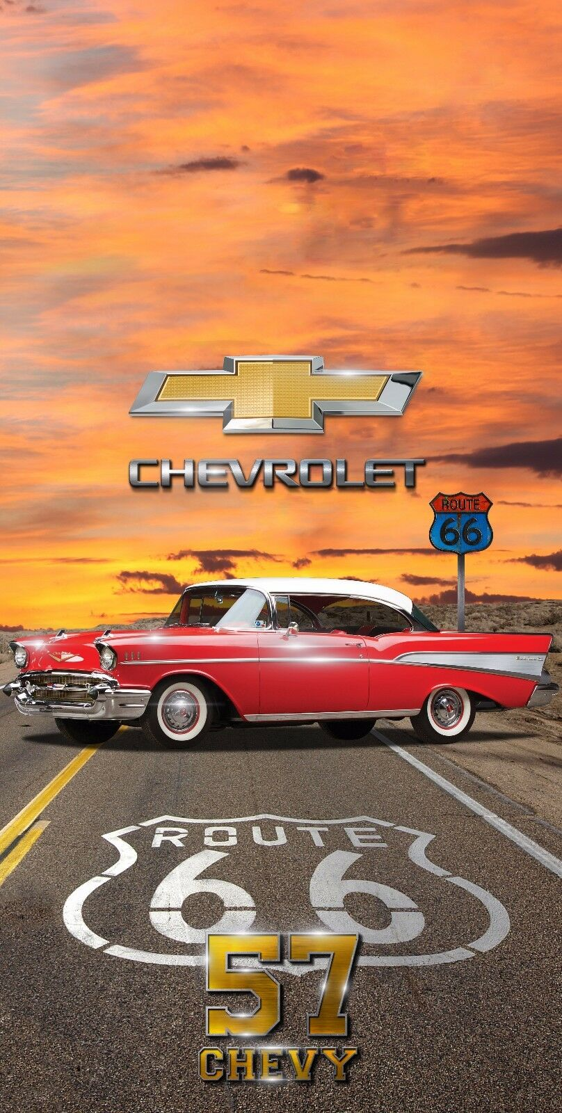 57 Chevy Route 66 Cornhole Wrap Board Printed 3M Vinyl Wrap Set - Wraps Only