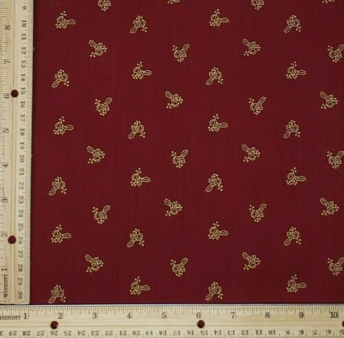 Christmas Quilt Cotton Fabric NOS Burgundy Red Metallic Tossed Holly BTHY 18X44