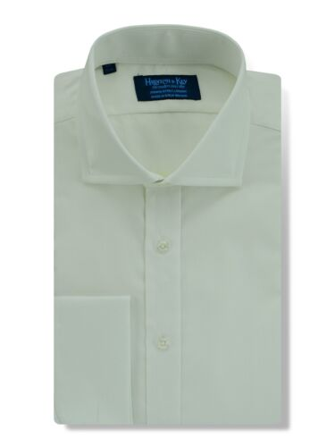 Double Cuff Shirt in a Plain White Oxford Cotton Cut-away Collar