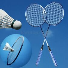 1 Pair Blue Aluminium Alloy High-strength Badminton Racket With Racquet Bag New