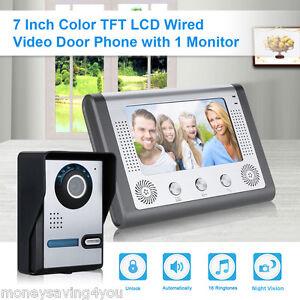 7 tft monitor videosprechanlage mit kamera klingel gegensprechanlage t rklingel 690176843244 ebay. Black Bedroom Furniture Sets. Home Design Ideas