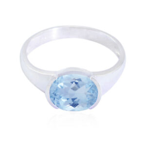 Real-Gemstones-Oval-Faceted-Blue-Topaz-ring-925-Sterling-Silver-Blue-us