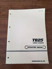 Takeuchi Tb25 Operators Manual
