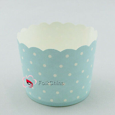 Blue Spotty Style Small Cake Baking Paper Cup Cupcake Muffin Cases Wedding Party