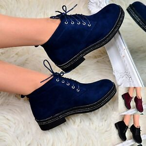 Womens Flat Lace Up Ankle Boots Casual