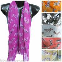 LIGHT WEIGHT CHIFFON SUMMER COLOURS ZEBRA ANIMAL PRINT LADIES SCARF SHAWL SARONG