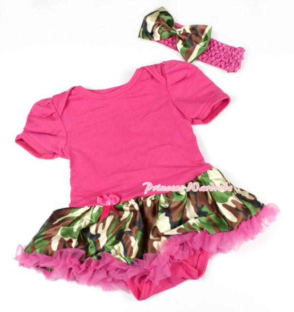 Toddler Hot Pink Bodysuit Jumpsuit Romper Camouflage Camo Girl Baby Dress NB-12M