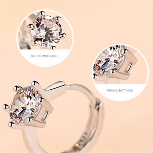 Girls Lovely Gifts Crystal Silver Plated Hoop Jewelry Small Round Earring GiftN7