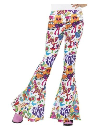 Womens 60s Retro Hippie Hippy Disco Groovy Chick Trousers Flared Pants Costume