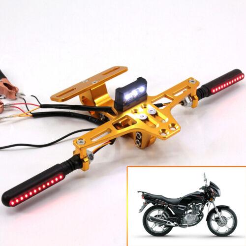 3LED KIT GOLD Motorcycle Adjustable CNC Number Plate Tail Tidy Lisence Bracket
