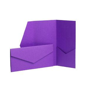 Dark Purple Matte Pocketfold Invites 105mm x 215mm From Pocketfold Invites LTD 25