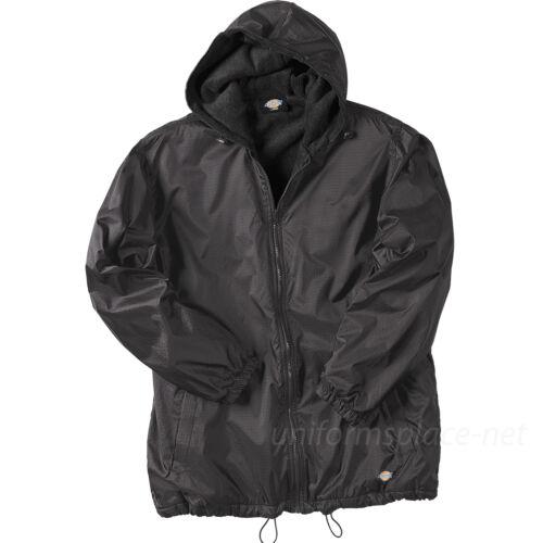 Men Jackets DICKIES Fleece lined Hooded Nylon Jacket Water Resistant  Navy Black