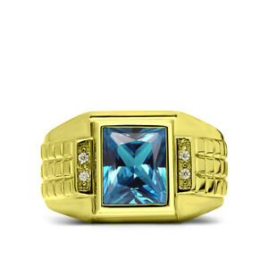 Blue-Topaz-Ring-for-Men-in-Solid-Fine-14K-Yellow-Gold-Natural-Mens-Diamond-Ring