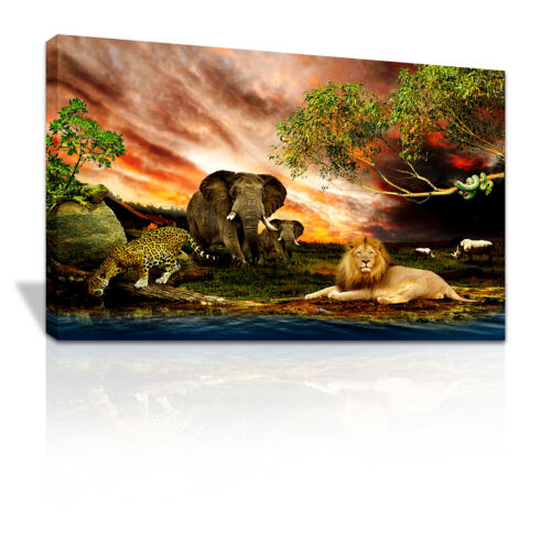 Safari Animal in Africa canvas print Animals Nature xmas gift - C057