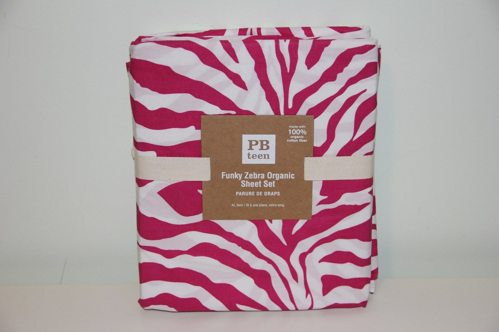 Nouveau  POTTERY BARN Teen Funky Zebra Organic XL Twin Sheet Set Rose Sold Out