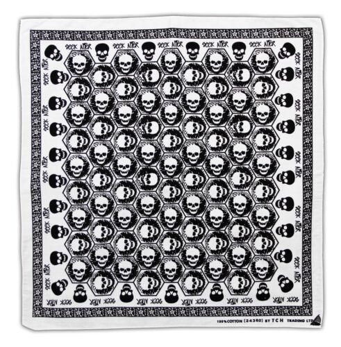 K064 tete de mort blanc noir foulard bandana foulard biker Loisirs Sport Chiffon